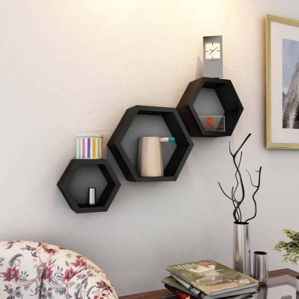 KraftStics Classy Wooden Wall shelf (Number of Shelve 3 Black) Wooden Wall Shelf