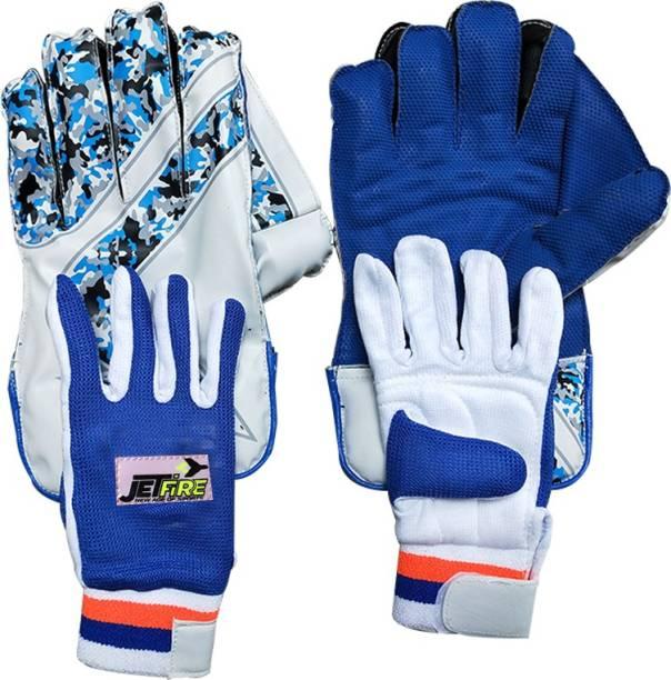 JetFire Regular Wicket Keeping Gloves Combo With Inner Gloves(Men, Blue) Wicket Keeping Gloves