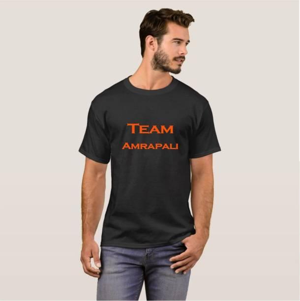 Exoctic Silver Printed Men Round Neck Black T-Shirt