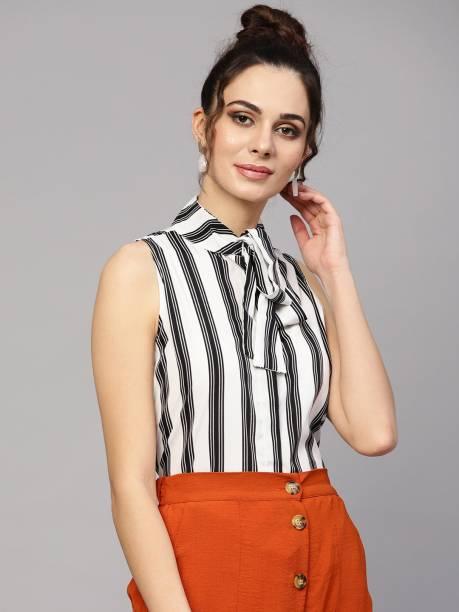 SASSAFRAS Casual Sleeveless Striped Women White, Black Top