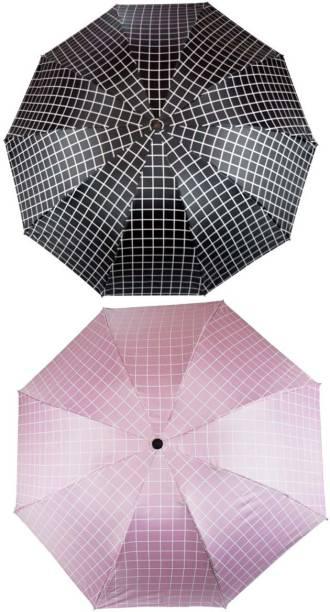 KEKEMI UMB017C_05 3 Fold Check Windproof Travel Umbrella