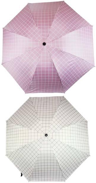 KEKEMI UMB017C_06 3 Fold Check Windproof Travel Umbrella