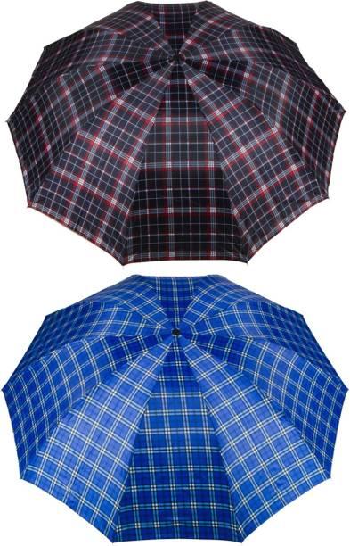KEKEMI UMB016C_10 3 Fold Check Windproof Travel Umbrella