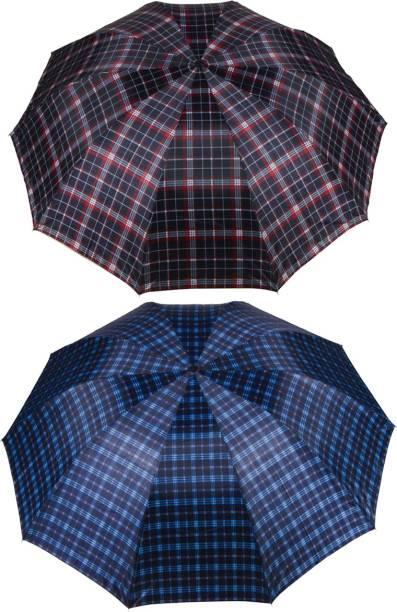 KEKEMI UMB016C_11 3 Fold Check Windproof Travel Umbrella