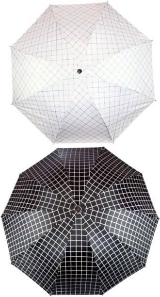 KEKEMI UMB017C_02 3 Fold Check Windproof Travel Umbrella