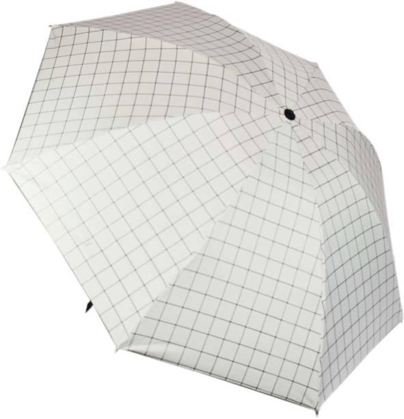 KEKEMI UMB017_02 3 Fold Check Windproof Travel Umbrella