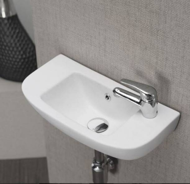 Ceramic Wall Mounted Wash Basin (White 18.5 x 10 x 7 Inch) /Glossy Finish Wall Hung Basin