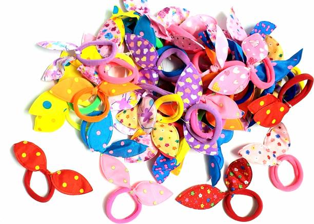 ANNA CREATIONS Girl's Rabbit Ear Hair Tie Rubber Bands Style Ponytail Holder (Multicolour) -24 Pieces Hair Band