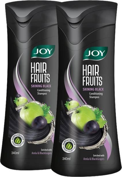 Joy Hair Fruits Shining Black Conditioning Shampoo (Pack of 2 x 340 ml)