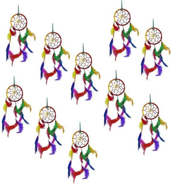 Ryme Pack Of (10) beautiful Multi Color Dream Catcher Wall Hanging For Home / Office Wool Dream Catcher