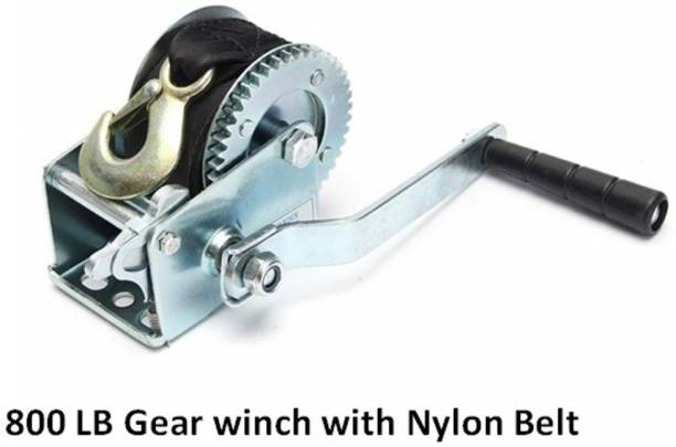 Breewell 800 lb (362 Kg) Gear Hand Winch Hand Crank Nylon Strap Gear Winch ATV 6 m Towing Cable