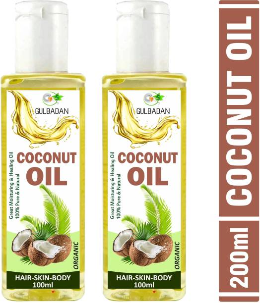 GULBADAN 100% Pure Virgin Coconut Oil For Skin, Hair, Massage & Aromatherapy (Pack of 2) Hair Oil