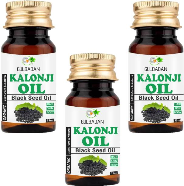 GULBADAN Premium Cold Pressed Kalonji Black Seed Oil for Healthy Hairs and Skin (Pack of 3) Hair Oil
