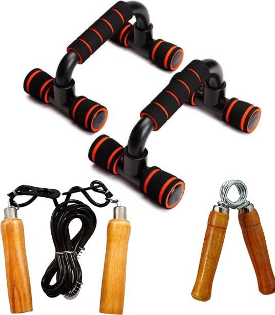 L'AVENIR Sports & Fitness Kit of Push Up Bar, 1 Wooden Rope & 1 Pc. Wooden Hand Grip Gym & Fitness Kit