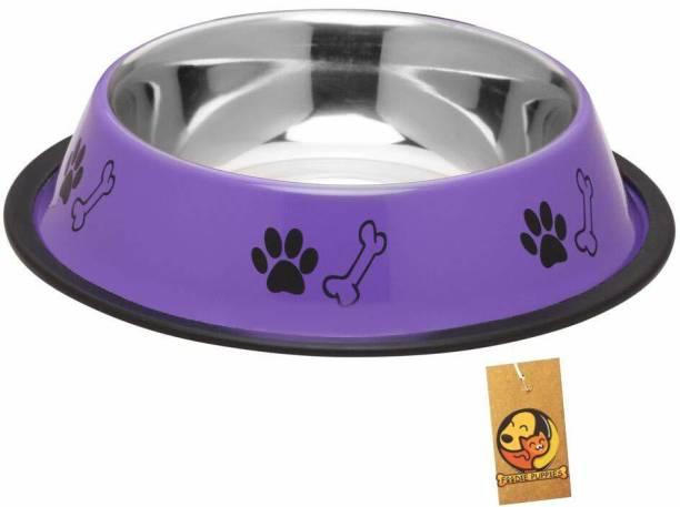 FOODIE PUPPIES Stainless Steel Paw Bone Printed Food Water Feeding Bowl for Dogs & Puppies (Medium, 700ml, Precious Purple) Round Steel Pet Bowl