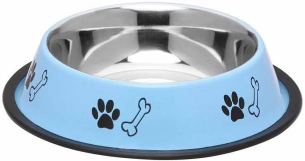 FOODIE PUPPIES Stainless Steel Paw Bone Printed Food Water Feeding Bowl for Dogs & Puppies (Medium, 700ml, Sky Blue) Round Steel Pet Bowl