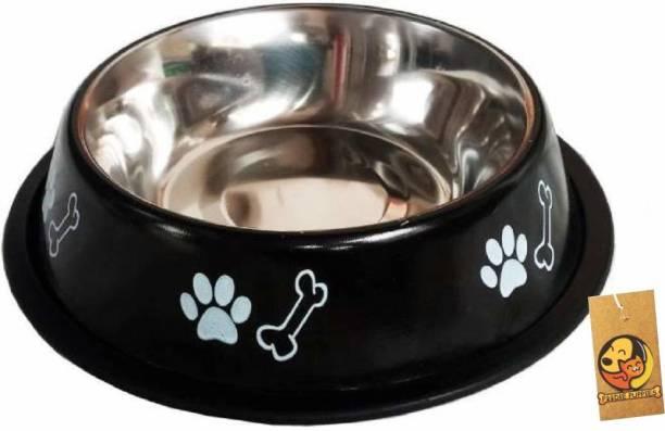 FOODIE PUPPIES Stainless Steel Paw Bone Printed Food Water Feeding Bowl for Dogs & Puppies (Medium, 700ml, Night Black) Round Steel Pet Bowl