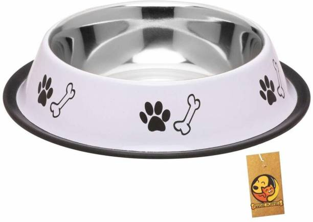 FOODIE PUPPIES Stainless Steel Paw Bone Printed Food Water Feeding Bowl for Dogs & Puppies (Medium, 700ml, Royal White) Round Steel Pet Bowl