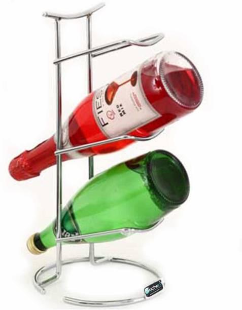 Mochen Stainless Steel Three Bottle Bar Rack Storage Organizer for Kitchen Countertops, Pantry, Fridge - Stores Wine, Beer, Pop/Soda, Water Bottles - 3 Levels, Holds 3 Bottles Stainless Steel Bottle Rack