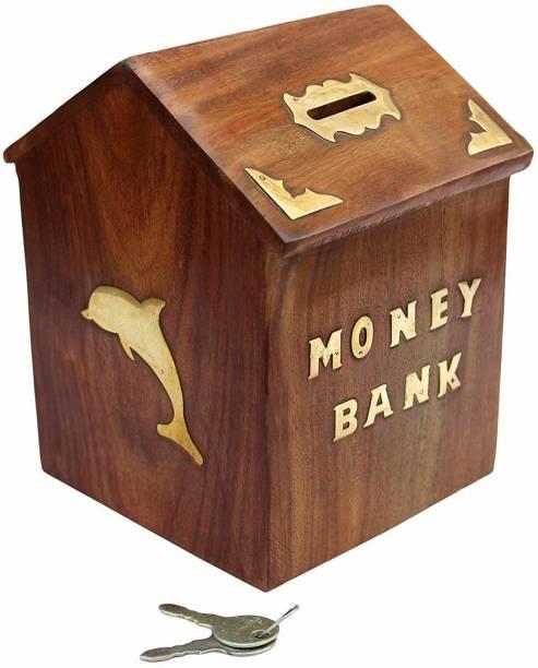 Sri Balajee Handmade Wooden Money Coin Saving Box - Piggy Bank for Kids - Gifts Coin Bank