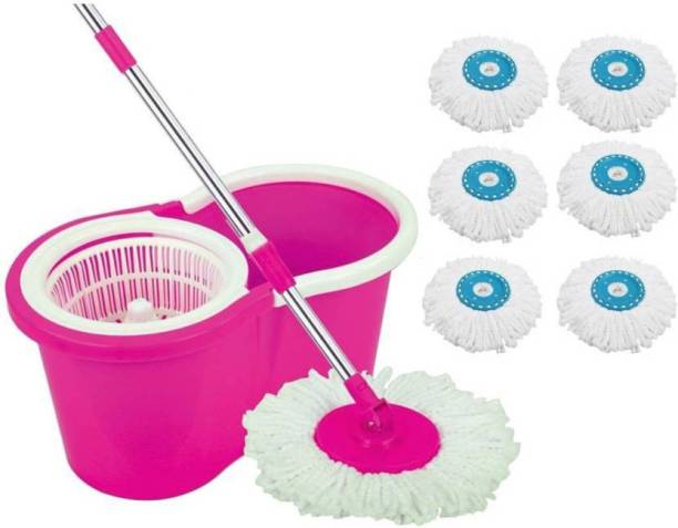 Majron 360 degree Spin Mop With 2 Refills & 4 EXTRA Refills- The Perfect Mop Set Mop Set, Cleaning Wipe, Mop