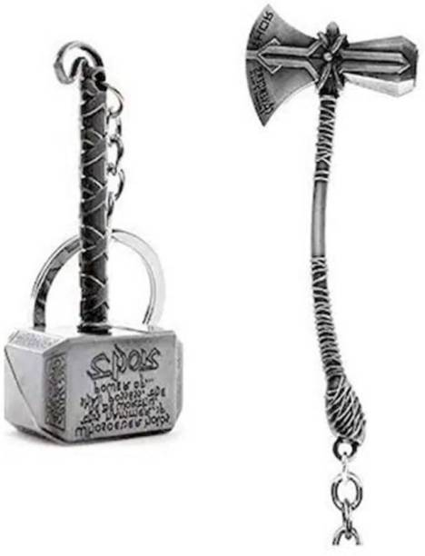 MASHKI THOR COMBO OF Stormbreaker & Hammer (SILVER/GOLD)(Set Of 2) Key Chain