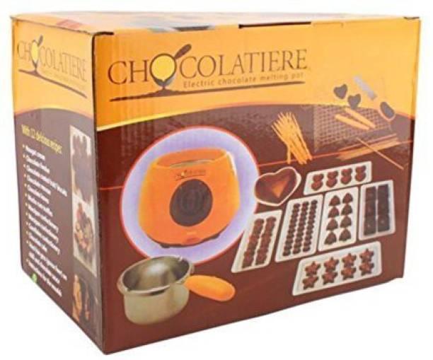 BEGMY Chocolate Fountain Fondue Melt Pot, Household DIY Dessert Machine Round Electric Pan