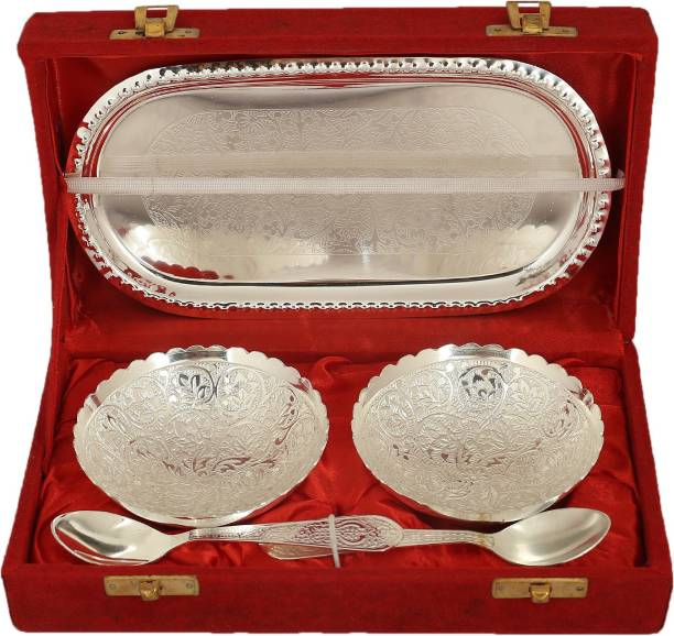 Rjkart Handicrafts Brass Silver Plated Serving Bowl Spoon and Tray Set of 5 for Home Décor Silver Plated Serving Bowl