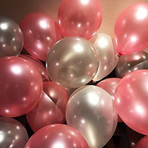 Chunky Funky Store Solid Metallic (50 Rose Gold and Silver Balloons) for Happy Birthday, Anniversary, Party, Occassions Balloons for Birthday Decoration Balloon