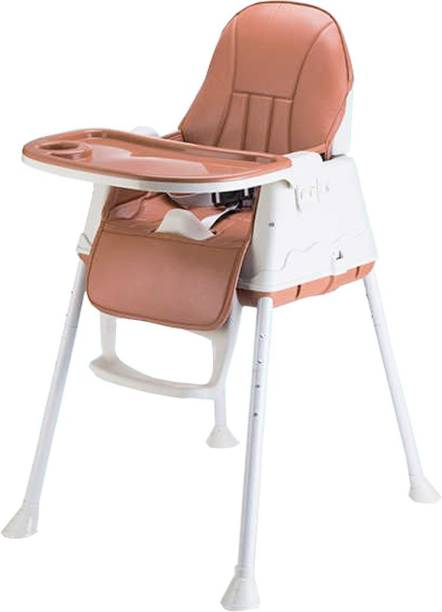SYGA High Chair for Baby Kids,Safety Toddler Feeding Booster Seat Dining Table Chair with Cushion (Brown)