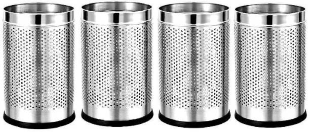 Mofna Stainless Steel Perforated Open Dustbin Set of 4-6 Litre Stainless Steel Dustbin