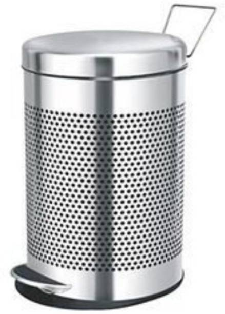 Mofna Stainless Steel Perforated Pedal Dustbin, 7 L (8x12 inch) Stainless Steel, Plastic Dustbin