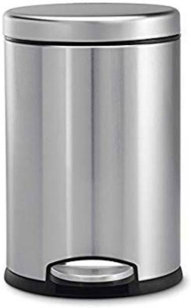 Mofna 7 L Stainless Steel Plain Pedal Dustbin with Plastic Bucket, 8X13-inch Stainless Steel, Plastic Dustbin