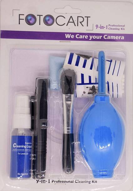 FotoCart Professional Clean Pro 9 IN 1 Multi-Purpose Cleaning Kit for Cameras, Lenses, Binoculars, LCD, Laptops, Desktops, Keyboards, etc, Includes Micro-Fibre Cloth, Brush, Liquid Solution, Powerful Dust Blower, Cotton Swabs, Cleaning Tissue Lens Cleaner (20 ml, 4x4 inch, Pack of 9)  Lens Cleaner