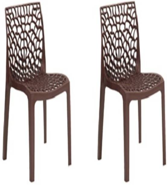 Supreme Web Set of 2 Chairs, Globus Brown Plastic Cafeteria Chair