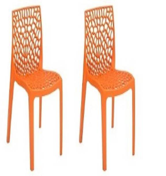 Supreme Web Set of 2 Chairs, Orange Plastic Cafeteria Chair