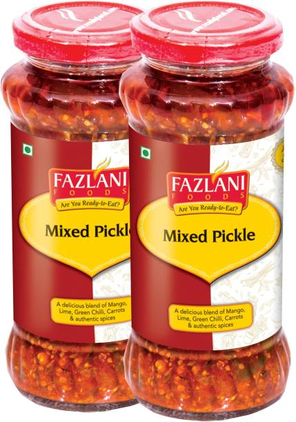 FAZLANI FOODS Ready to Eat Mixed Pickle (Pack of 2, 300gm each) Mixed Vegetable Pickle