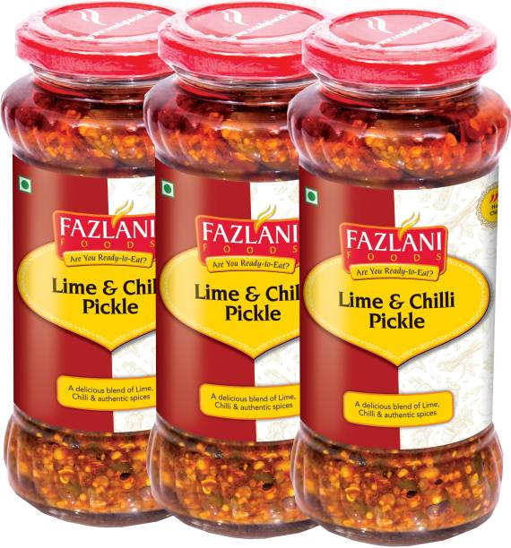 FAZLANI FOODS Ready to Eat Lime & Chilli Pickle (Pack of 3, 300gm each) Lime, Green Chilli Pickle