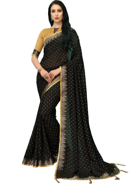 Sanku Fashion Printed, Embellished, Graphic Print, Solid Banarasi Silk Blend, Art Silk Saree