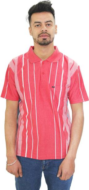 MATELCO Printed Men Polo Neck Pink T-Shirt