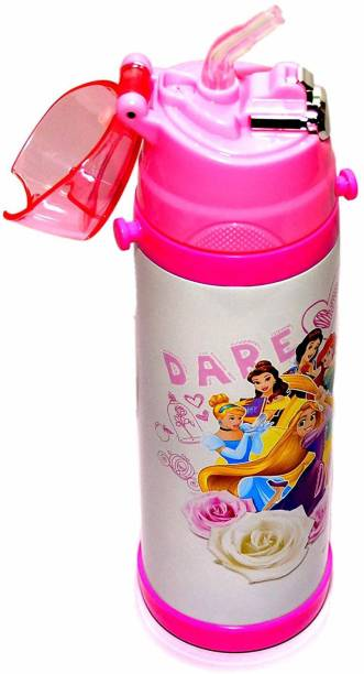 Priceless Deals Healthy Stainless Steel Water Bottle Attractive Princess Cartoon Printed Double Wall Vacuum Insulated BPA Free Thermos Flask for Kids (500 ml) 500 ml Water Bottle