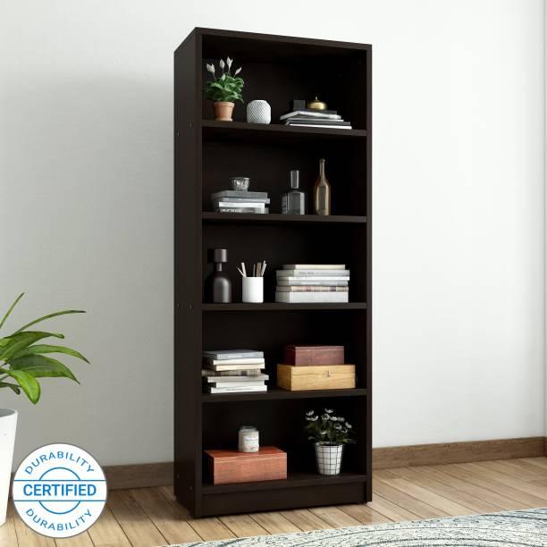 Valtos Engineered Wood Open Book Shelf Finish Color   Wenge
