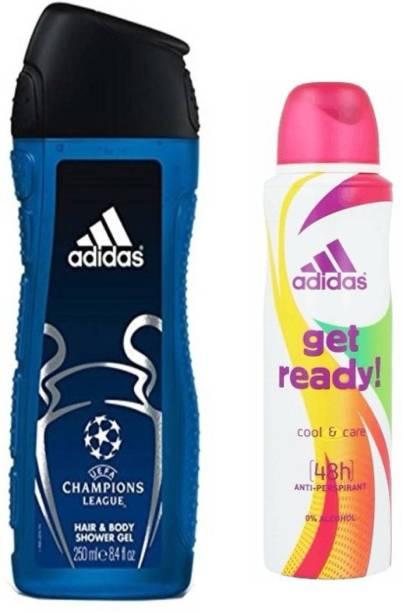 ADIDAS Champiom League shower gel and Get Ready deo