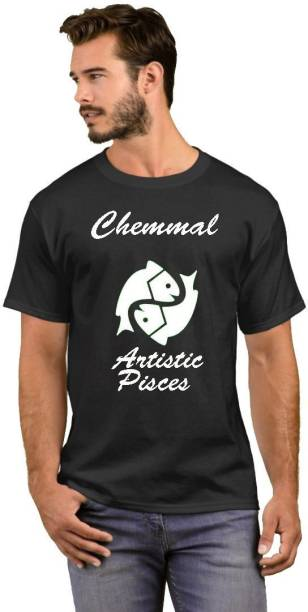 GNS Printed Men Round Neck Black T-Shirt