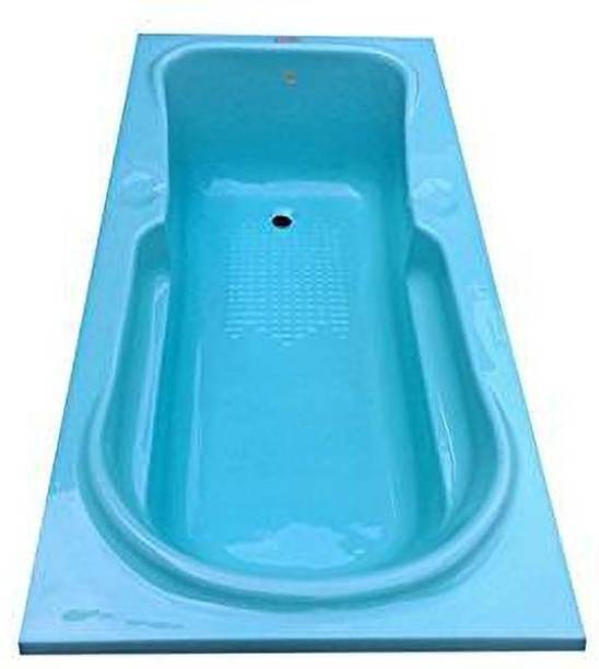 MADONNA Rex Rectangular Acrylic Bath Tub (5.5 Feet, Cyan Blue) Free-standing Bathtub