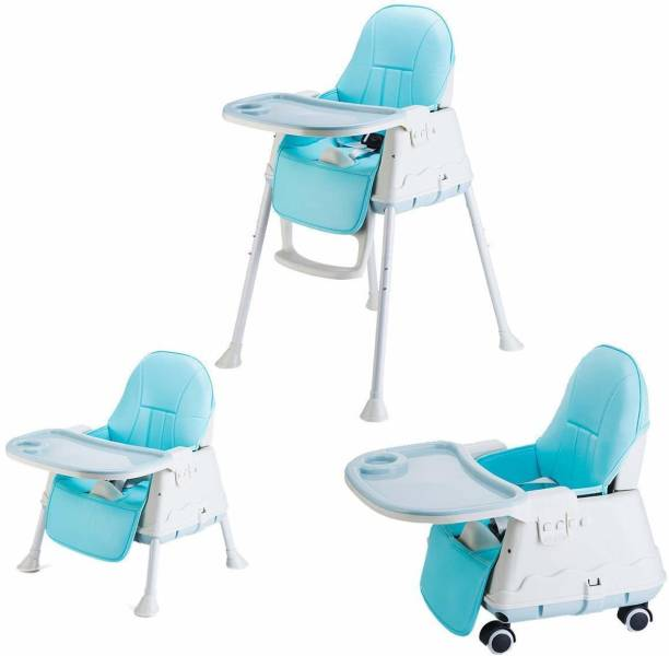 SYGA High Chair for Baby Kids, Safety Toddler Feeding Booster Seat Dining Table Chair with Wheel and Cushion (Blue)