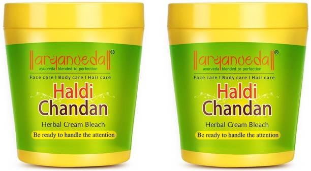 Aryanveda Herbals Haldi-Chandan Bleach Cream,250gm Pack of 2