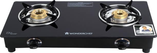 WONDERCHEF Power 2 Burner Glass Gas Stove Glass Manual Gas Stove