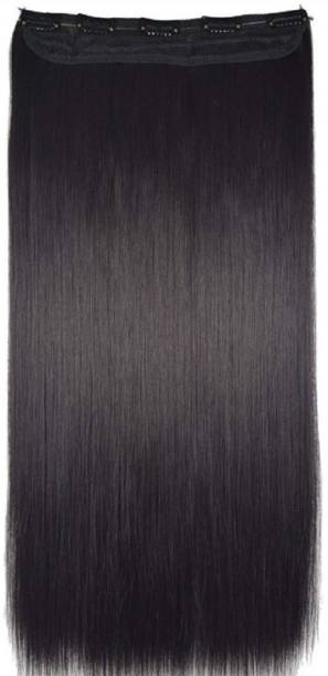 GadinFashion 5 Clip Straight Synthetic  Extensions For Women/Girls/Wedding Accessories (Natural Black, 26 Inches) Hair Extension