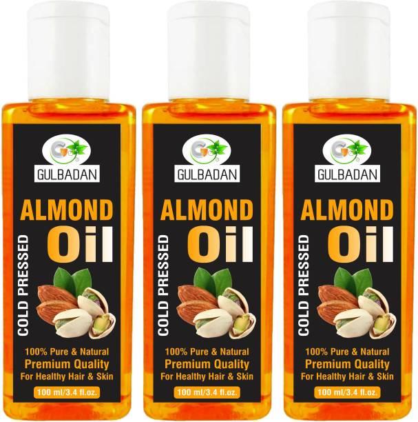 GULBADAN 100% Pure and Natural Almond Hair Oil (Pack of 3) Hair Oil